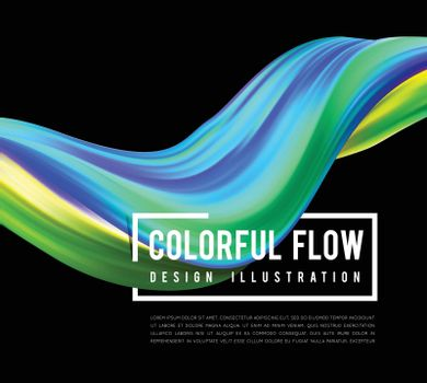 Colorful flow design. Trending wave liquid vector illustration on black