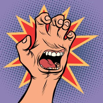 mouth emotion anger hand scratch gesture