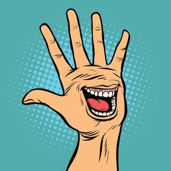 smile joy emotion hi five hand gesture