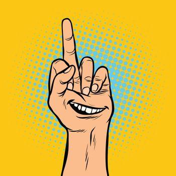 smile joy emotion fuck you hand gesture