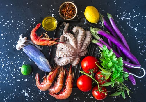 Ingredients for the preparation of a grilled fish