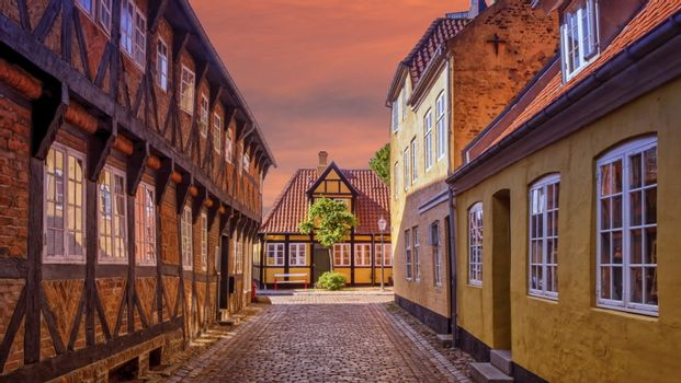 Street and houses in medieval Ribe town, Denmark