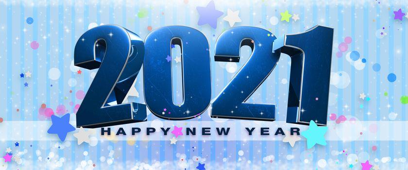 2021 year 3d illustration on Blue background.