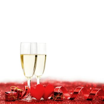 Valentines day Champagne with red glitter decoration