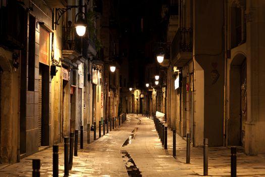 Barcelona Gothic quarter at night