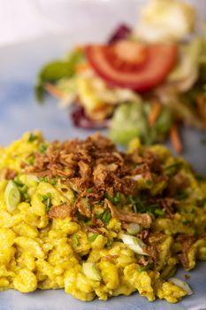 closeup of bavarian spaetzle pasta