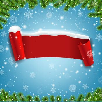 Red Ribbon With Snow Isolated Blue Background With Gradient Mesh, Vector Illustration