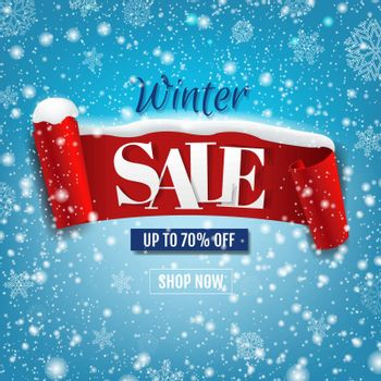 Discount Winter Poster With Red Ribbon With Snow Isolated Blue Background With Gradient Mesh, Vector Illustration