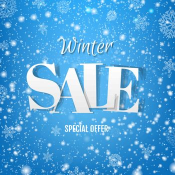 Winter Sale Poster With Snow And Blue Background With Gradient Mesh, Vector Illustration