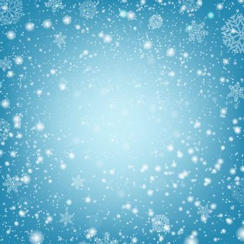 Winter Poster With Snow And Blue Background With Gradient Mesh, Vector Illustration