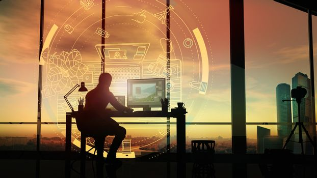 At sunset, a photographer in his office in front of a holographic projection.