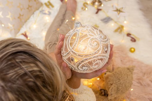Ornate decorative swirly glitter design Christmas bauble decorat