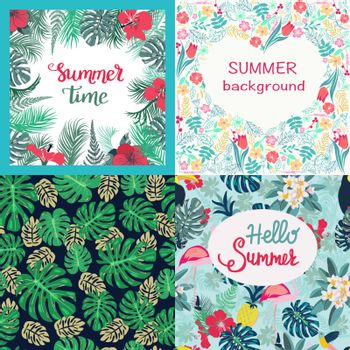 Vector hand drawn banner summer time theme. Set of background tropical flowers hibiscus, monstera, palm leaves and etc.