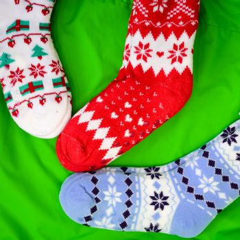 bright colored socks for Christmas or new year gifts and surprises