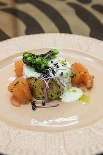 Potato casserole with broccoli white sauce and salmon fish decorated with micro greens sprouts of radish