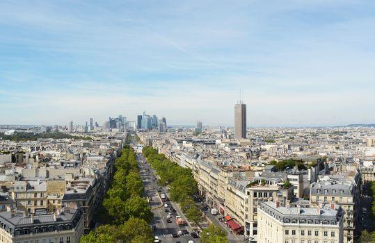 View northwest from top of Arc de Triomphe along long avenue towards the Grande Arche in La Defense business district