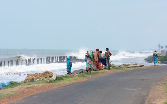 View of sea before very severe tropical cyclonic storm Bulbul that lashed and struck West Bengal and Bangladesh causing storm surge and flash flood across coastal area. Bakkali India November 2019