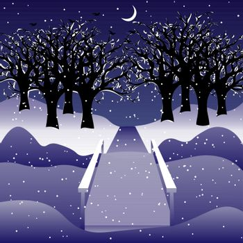 Winter night landscape: leafless trees in the snow, a bridge through the frozen river. young moon in the sky, snowfall