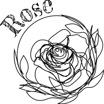 Floral tattoo or print design with line rose and text