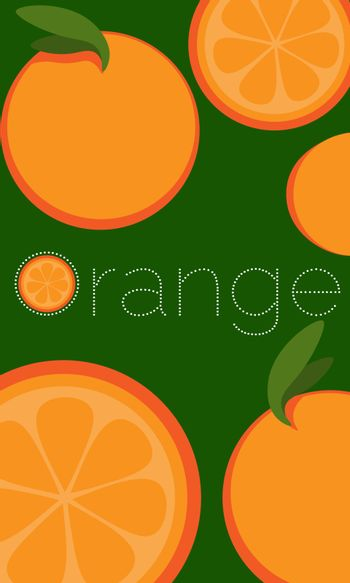 Repeated whole and half oranges on green background and text