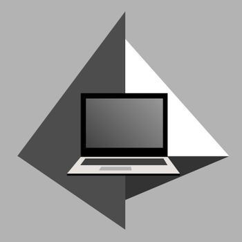 Simple abstract geometric icon with open laptop in grey shades