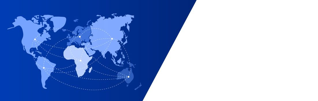 Blue-white banner. World map with continents on blue. North and South America, Europe, Africa, Asia, Australia. Continental nodes linked by lines. Global communication theme. Place for text on white