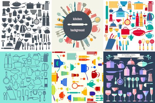 Vector hand drawn Set of Kitchenware and restaurant, glassware icon in flat design.