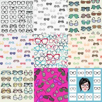 Vector hand drawn Mega Set of fashion glasses, sunglasses icon in flat design illustration.