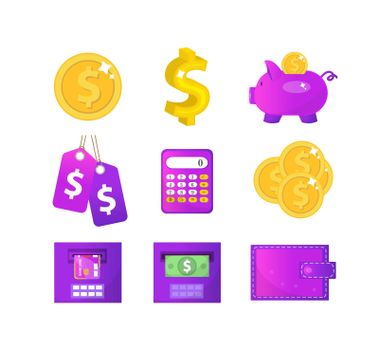 Money and Finance icons, modern flat style. Finance icons collection isolated on white background. Money set for Web and Mobile Application. Bank objects and items. Vector illustration, clip-art