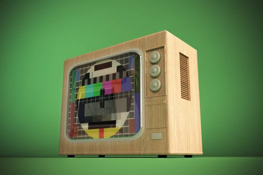 old tv isolated on green background 3d illustration