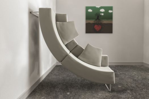 curved modern sofa leaning on the wall side 3d illustration