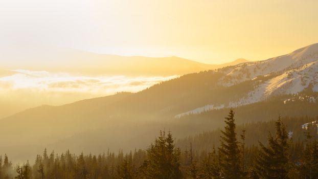 Sunrise in the Ukrainian Carpathian Mountains. Sun Rising over Mountain, Ukraine.