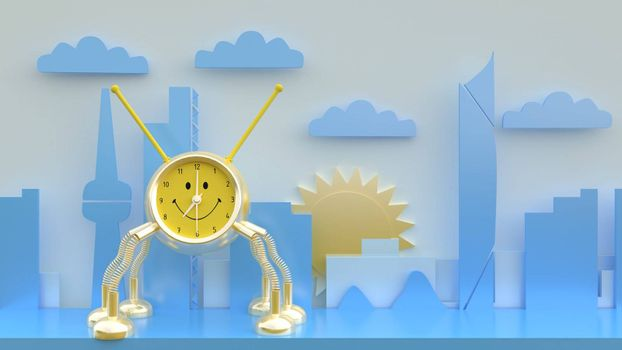 3d rendering , 3d illustrator,The golden robot clock on the shelf The background is graphic. The city has a sunrise.