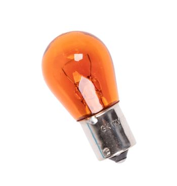 Orange bulb for car headlight, isolated on white