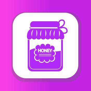 Jar of honey icon, flat style. Isolated on white background. Vector illustration, clip-art