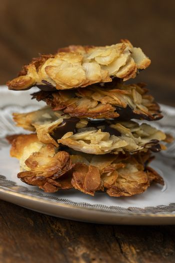 stack of florentiner cookies on a plate