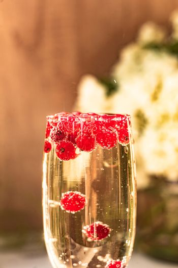 Sparkle wine in glass with red currant berries
