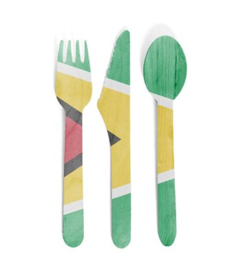 Eco friendly wooden cutlery - Plastic free concept - Isolated - Flag of Guyana