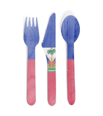 Eco friendly wooden cutlery - Plastic free concept - Isolated - Flag of Haiti