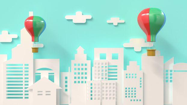 3d rendering, 3d illustrator, Balloon send gift Entering the New Year's Festival