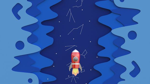 3d rendering, 3d illustrator, Cartoon red spaceship Rising into the sky through the night sky