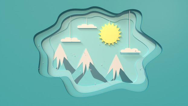 3d rendering, 3d illustrator,  In a free-form frame There was a sunrise over the mountains on a snowy day.