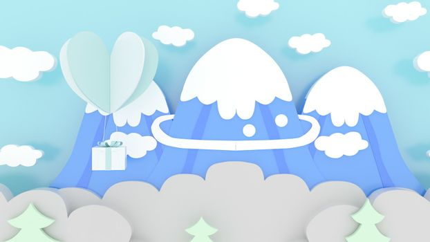 3d rendering, 3d illustrator, Sending gifts by heart. Iceberg view