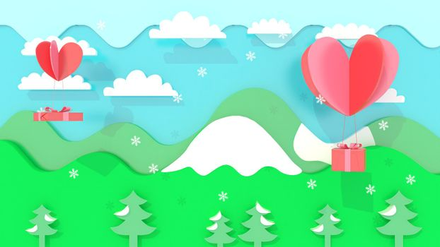 3d rendering, 3d illustrator, Sending gifts by heart. Mountain and nature views