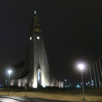 This famous building can be found in Reykjavik, Iceland. Shot during the night in 2019 during the autumn.
