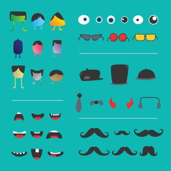 monster creature creation object set icon vector