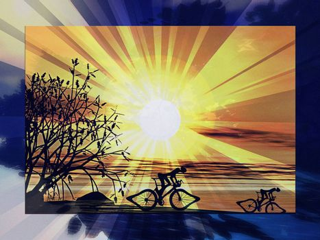 Riding a bike at dawn, an abstract textured illustration showing two athletes competing outdoors