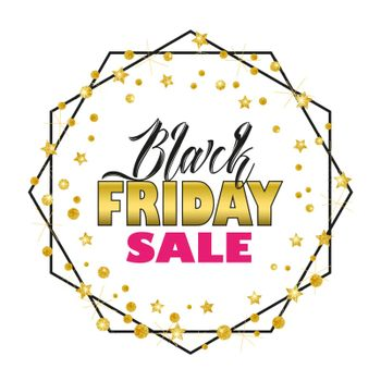 Vector illustration of a Black Friday Sale background, brochure, banners. Card with golden stars. Gold decoration on white background