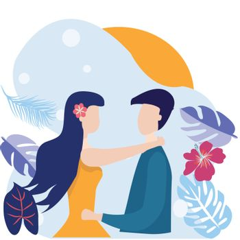 Happy romantic young couple  embracing each other. Vector illustration in cartoon style characters of young woman and man hugging.