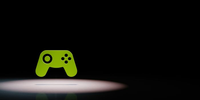 Gamepad Controller Symbol Spotlighted on Black Background